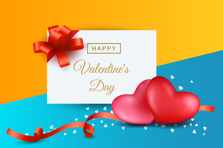 Valentines day pictures with two hearts, ribbons and bows on colorful background