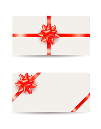 Beautiful gift cards with red bows and ribbons isolated on white background Vettoriali