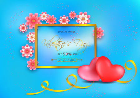 Valentines day sale gift card with paper-cut pink flowers and gold border frame on blue background Illustration
