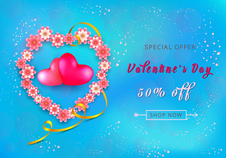Valentines day sale background in form of heart from paper-cut flowers on blue background