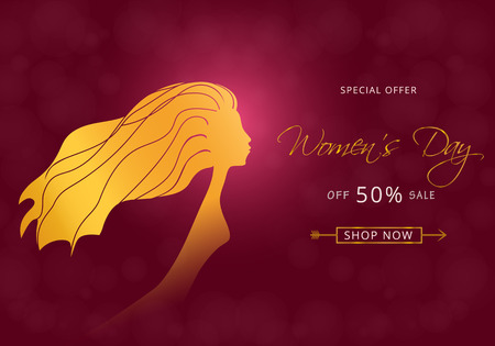 Fashion woman silhouette with long hair. Sale shop banner with offer on pink background. Vektorové ilustrace