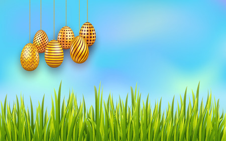Easter sky background with hanging decorated golden eggs and green grass. Vector illustration