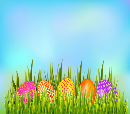 Row of decorated Easter eggs hiding in grass on sky background. Bottom border element. Vector illustration Ilustracja