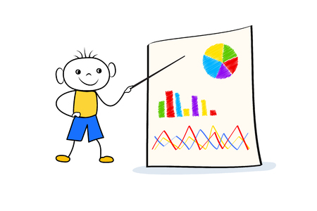 Young doodle boy standing near flip chart and pointing at board with graph and pie chart. Businness presentation concept in cartoon style. Vector illustration Ilustração