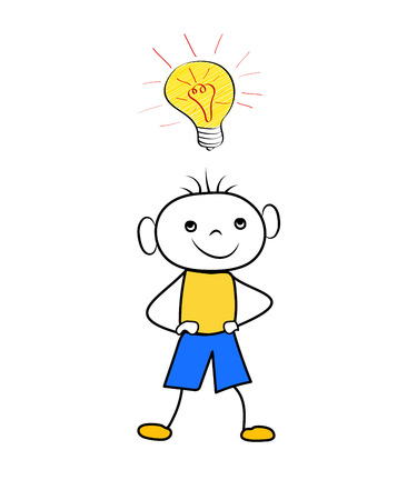 Cartoon boy with light bulb - concept of idea isolated on white background. Trendy doodle vector illustration Ilustração