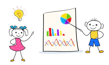 Cartoon boy and girl presentation of innovative business idea at flip chart. Doodle style conference design isolated on white background. Vector illustration