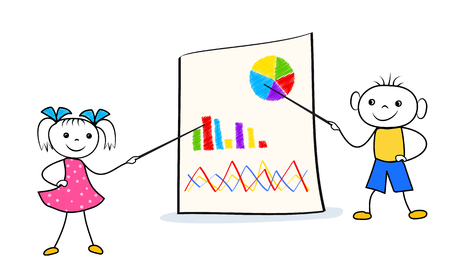 Stick man girl and boy pointing on flip chart during business presentation. Team work concept with cartoon characters. Vector illustration