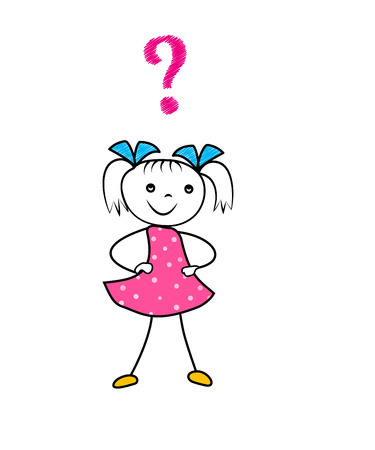 Hand drawn cartoon girl thinking with question mark. Asking decision doodle character isolated on white background. Vector illustration