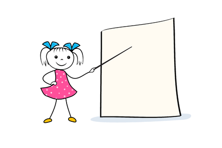 Doodle girl character with pointer in hand near empty presentation board. Cartoon template for conference, seminar or lecture. Vector illustration Ilustração
