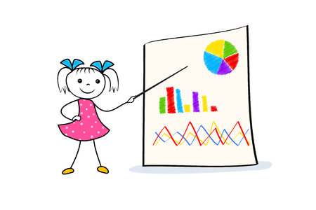 Young cartoon girl pointing at board with graph and pie chart. Businness presentation concept in doodle style. Vector illustration