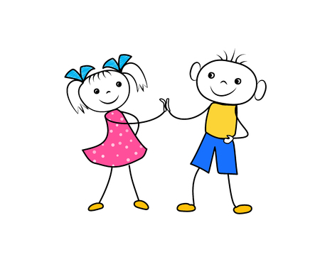 Cartoon boy and girl holding hands and glad to be a friends. Successful business contract negotiation. Vector illustration Ilustração