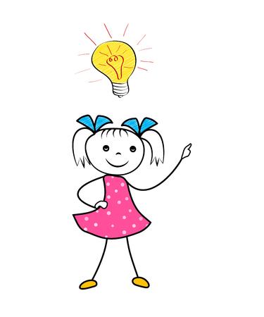 Doodle girl with innovative idea light bulb. Cartoon vector illustration
