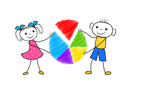 Cartoon boy and girl holding pie chart in hands. Doodle big data analysis concept isolated on white background. Vector illustration Çizim