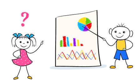 Cartoon boy standing near presentation board and pointing to graph and pie chart while girl askin some questions. Vector illustration