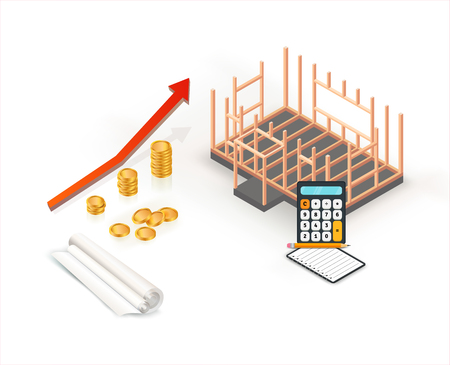 Cost estimation for building house with rolled blueprint plan and calculator. Isometric concept. Vector illustration Illusztráció
