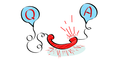 Question and answer vector illustration concept in doodle style isolated on white background
