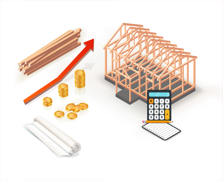 Modern isometric house construction with stacks of gold coins in property investment. Building construction budget growth design with red graph. Vector illustration