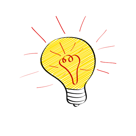 Bright light bulb in doodle style isolated on white background. Big idea, brainstorming or innovation concept. Vector illustration