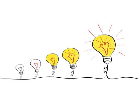 Big idea evolution process. Set of growing light bulbs with different stages of brightness. Vector illustration Ilustração