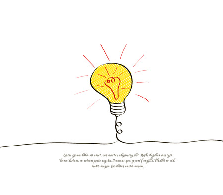 Big idea concept with light bulb in doodle style. Banner design for innovation, inspiration or block quote. Vector illustration