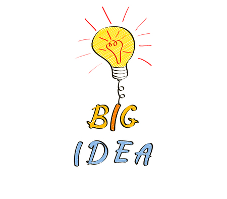 Light bulb in doodle style. Big idea hand drawn concept with copy space. Vector illustration