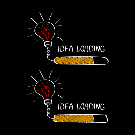 Big idea with loading bar isolated on black background. Brainstorming or creative thinking banner concept. Vector illustration