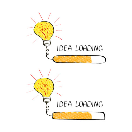 Big idea with loading bar in doodle style isolated on white background. Creative thinking process. Vector illustration
