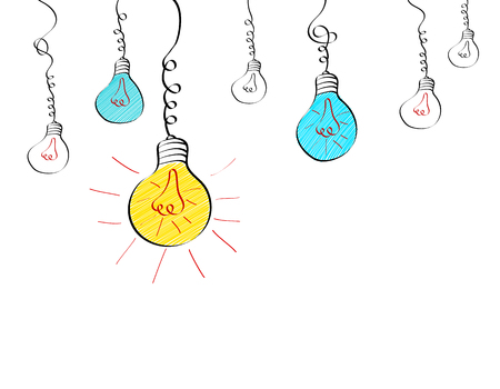 Hanging light bulbs with different glowing in doodle style. Big idea business concept. Vector illustration