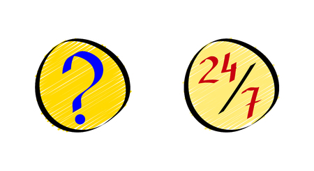 Online FAQ or frequently asked questions icons set in doodle style. Vector illustration