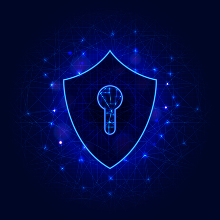 Shield with keyhole on abstract polygonal background. Cyber data online security concept. Vector illustration