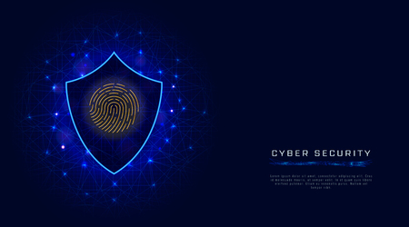 Cyber security concept. Shield with fingerprint scan. Cloud data protection banner template on abstract geometric background. Vector illustration Illustration