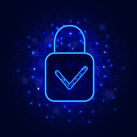Cyber security concept. Padlock with check mark on abstract blue background. General data protection regulation design. Vector illustration