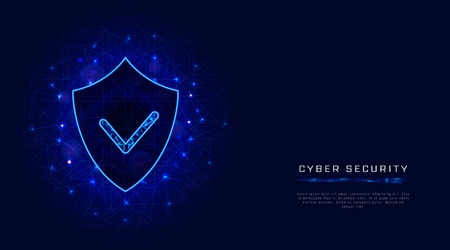 Cyber security banner template. Shield with check mark on abstract blue background. Digital data protection concept. Vector illustration