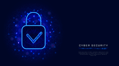 Cyber security template with padlock and check mark on abstract blue background. Banner design concept. Vector illustration Ilustração