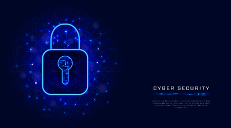 Cyber security and data protection banner template with lock symbol on abstract geometric background. Cloud technology design concept. Vector illustration