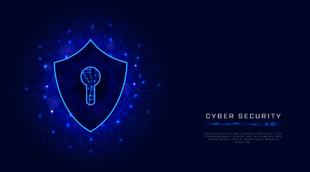 Shield with keyhole cyber security banner template on abstract polygonal background. Cloud data protection technology. Vector illustration Banco de Imagens - 124817486