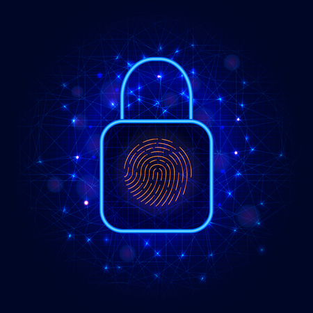 Lock symbol and biometric fingerprint scanner for access to protected data. Cyber security concept with padlock and thumb print security technology. Vector illustration Stock Illustratie