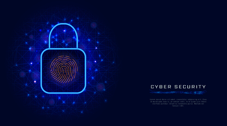 Virtual or digital data protection by biometric fingerprint scan. Cyber security concept with lock. Futuristic technology. Vector illustration Illustration