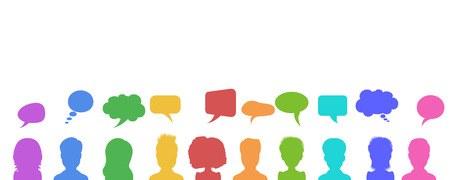 Vector illustration in flat style, businessmen discussion in social networks, news or chat dialogue speech bubbles. Social network design concept.
