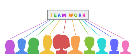 Teamwork banner design, collaboration abstract business concept. Flat style vector illustration