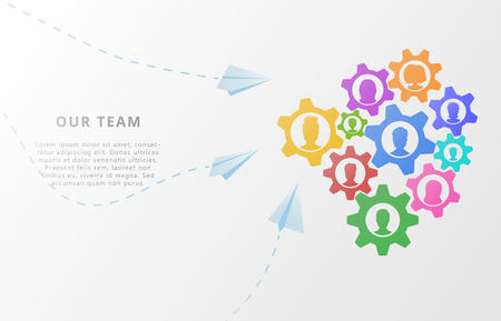 Business concept of teamwork with people icons on abstract background with gears, flat style business mechanism or organization planning and team management. Vector illustration