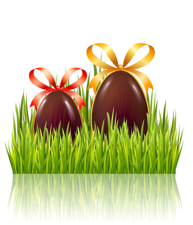 Easter big hunt with chocolate eggs with bow and green grass isolated on white glossy background. Vector illustration