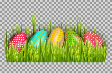 Easter eggs background with fresh green grass. Happy easter big hunt vector illustration Ilustração