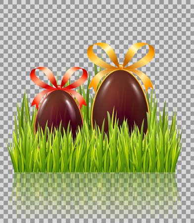 Chocolate Easter eggs with bow in green grass isolated on transparent glossy background. Vector illustration