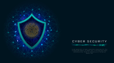 Cyber security concept, shield with fingerprint icon on digital data background. Illustration with cyber technology for information or network protection