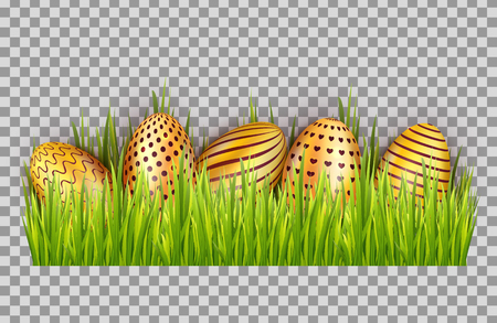 Happy Easter big hunt with golden eggs on grass isolated on transparent background. Decoration elements design. Vector illustration