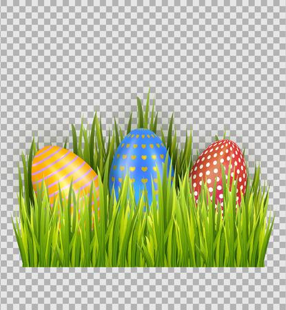 Easter eggs on green grass, decorative element with transparent background. Vector illustration Ilustração
