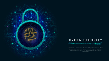 Cyber security concept. Internet data protection technology with fingerprint scanner on blue background. Network information privacy. Vector illustration