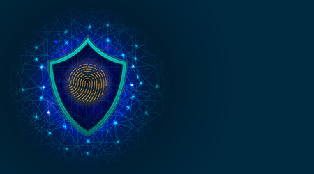 Cyber security concept with biometric fingerprint scanner on shield icon. Digital data protection technology on abstract blue background with copy space. Vector illustration Ilustração