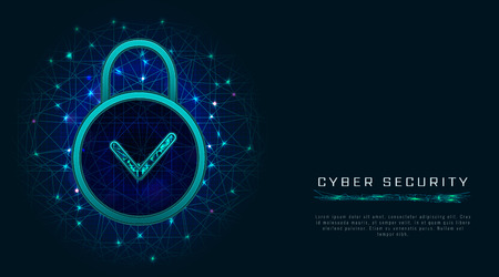 Data protection design with padlock and check mark icon on abstract technology background. Cyber security concept. Vector illustration